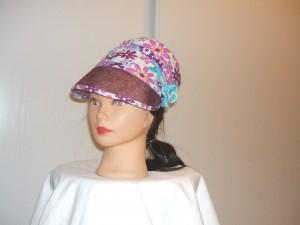 casquette coton /sisal /fleurs crochet main